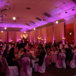 Tenants Hall in Tatton Park with pinkish purple uplighting