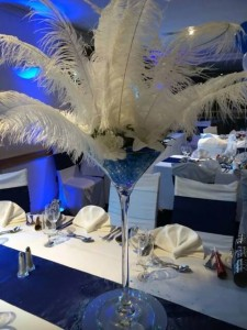 martini glass centre piece