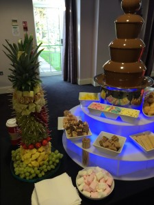 chocolate fountain fruit palm
