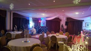 1 of our DJ's set up for a Christmassy wedding at the Dunkenhalgh hotel