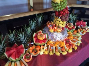 Fruit carvings as part of the premium Palm display