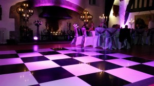 12ft black & white dance floor with up lighters